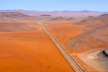 Road and rail side by side - 25 kms east of Aus, Karas Region, Namibia